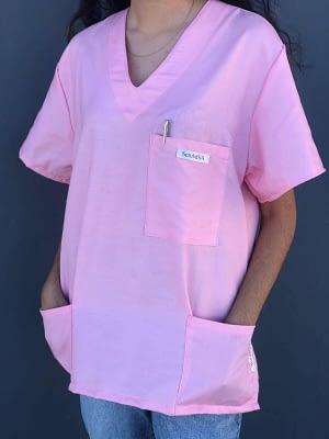 Medical scrubs for sale - Bubblegum Pink SIDE