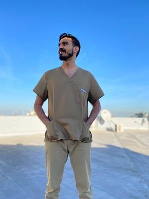 Affordable medical scrubs for sale - Khaki front